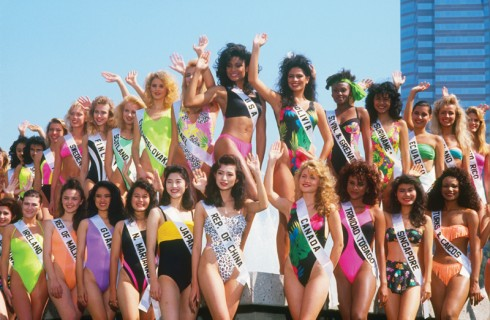 CENTURY CITY, CA - 1990: Contestants from around the world pose for a group photo at the 1990 Miss Universe Pageant held in Century City, California. (Photo by George Rose/Getty Images)